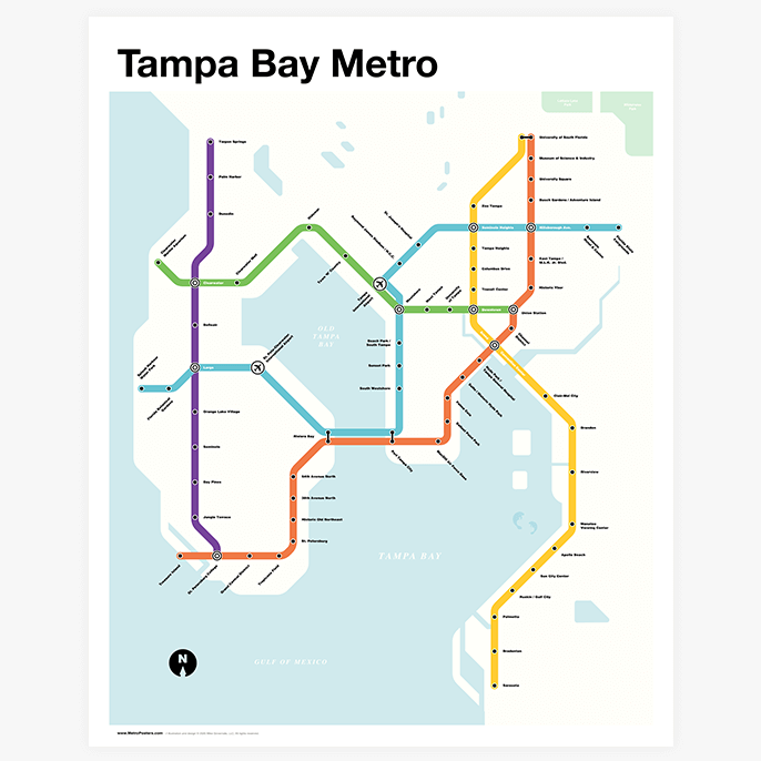 Tampa Bay Metro Map Metro Posters Users can easily view the boundaries of each zip code and the state as a whole. tampa bay metro map