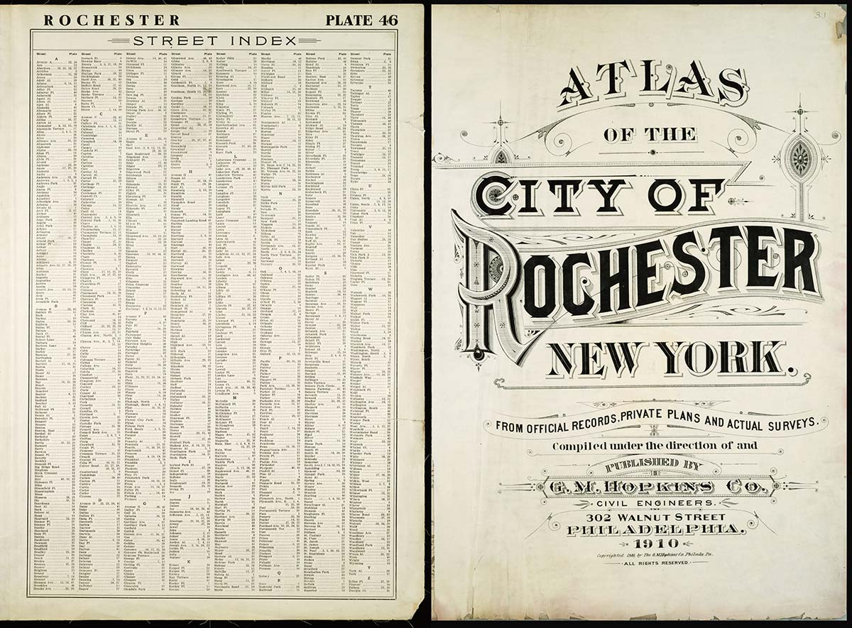 Title page from 1910 City of Rochester, New York survey atlas